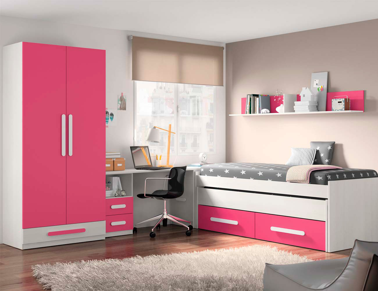 Composicion 320 dormitorio juvenil blanco fucsia
