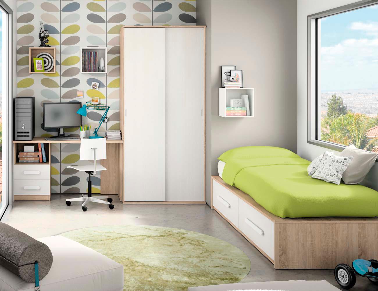 Composicion 323 dormitorio juvenil cambrian blanco