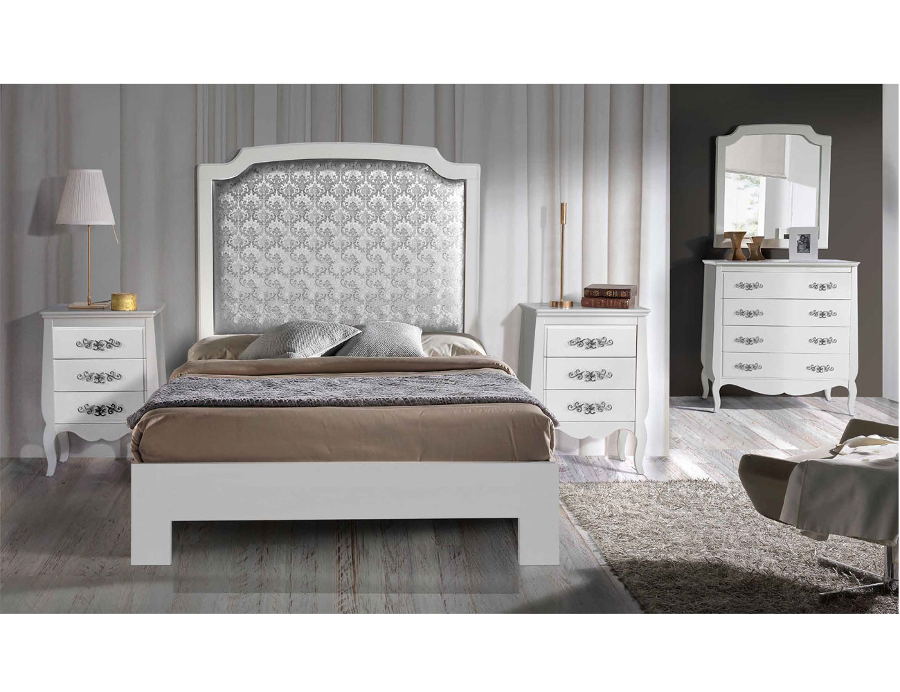 Composicion03 dormitorio matrimonio cabecero tapizado comoda