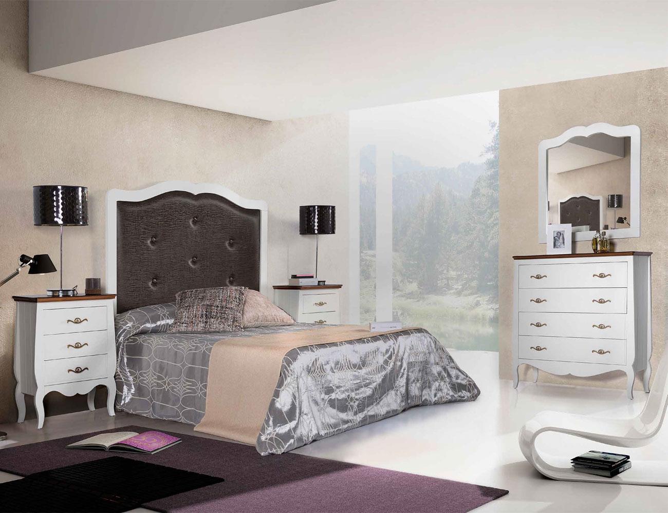 Composicion06 dormitorio matrimonio cabecero tapizado comoda