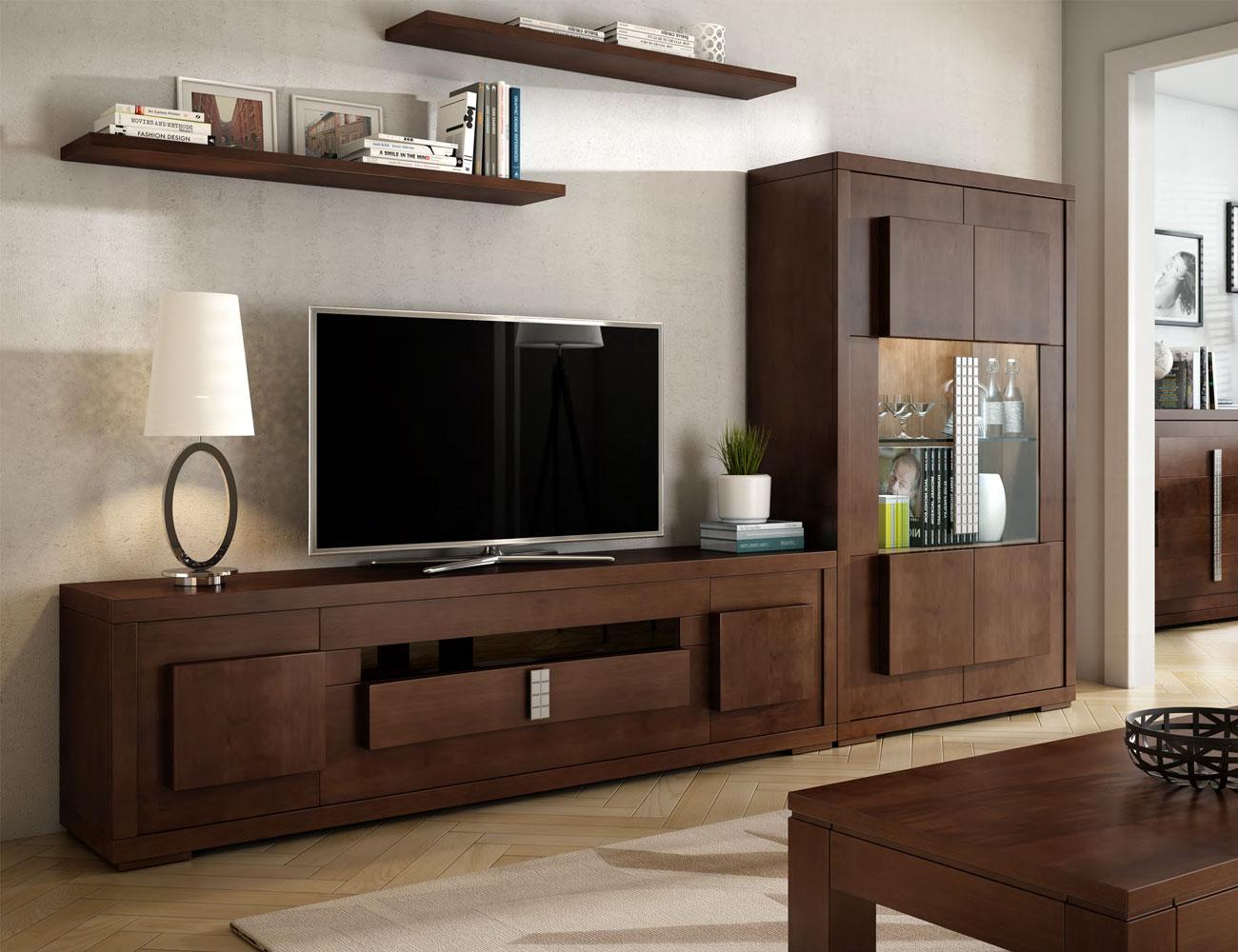 Composicion2 mueble salon comedor neoclasico vitrina nogal clasicc