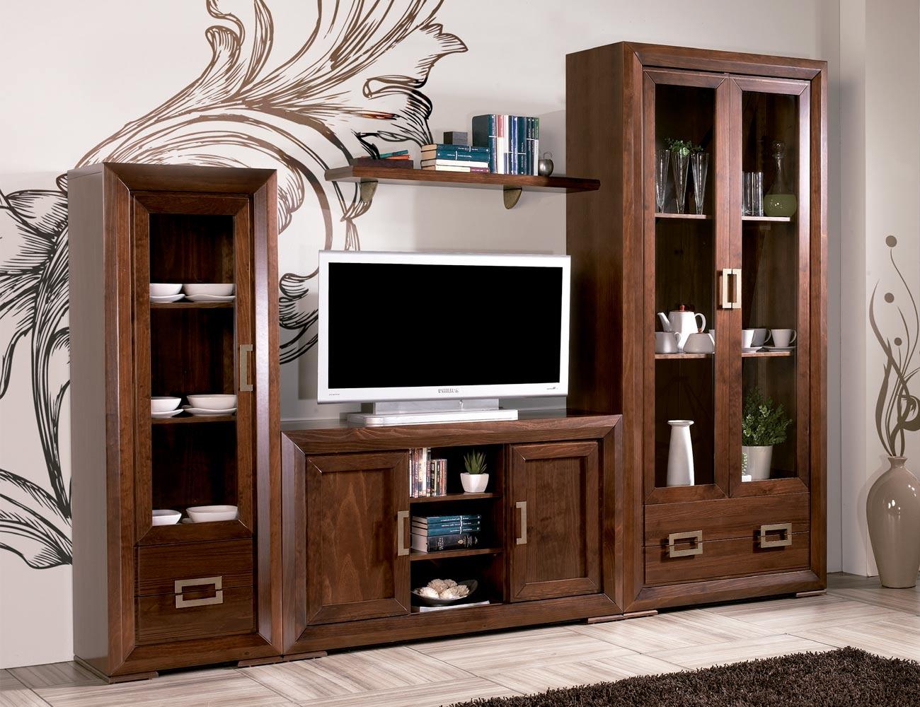 Composicion28 mueble salon comedor vitrinas madera