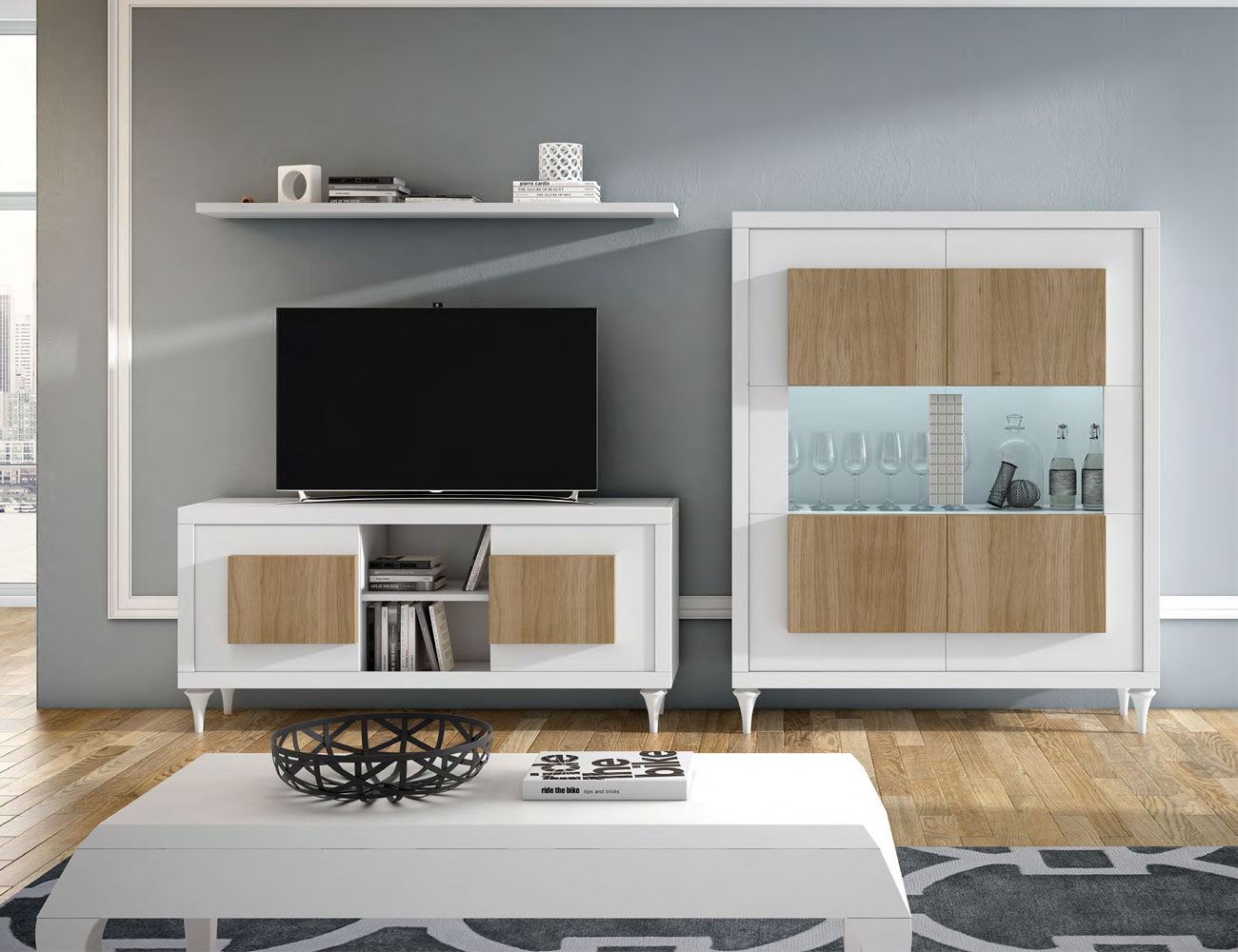 Composicion3 mueble salon comedor neoclasico blanco roble natural vitrina tv