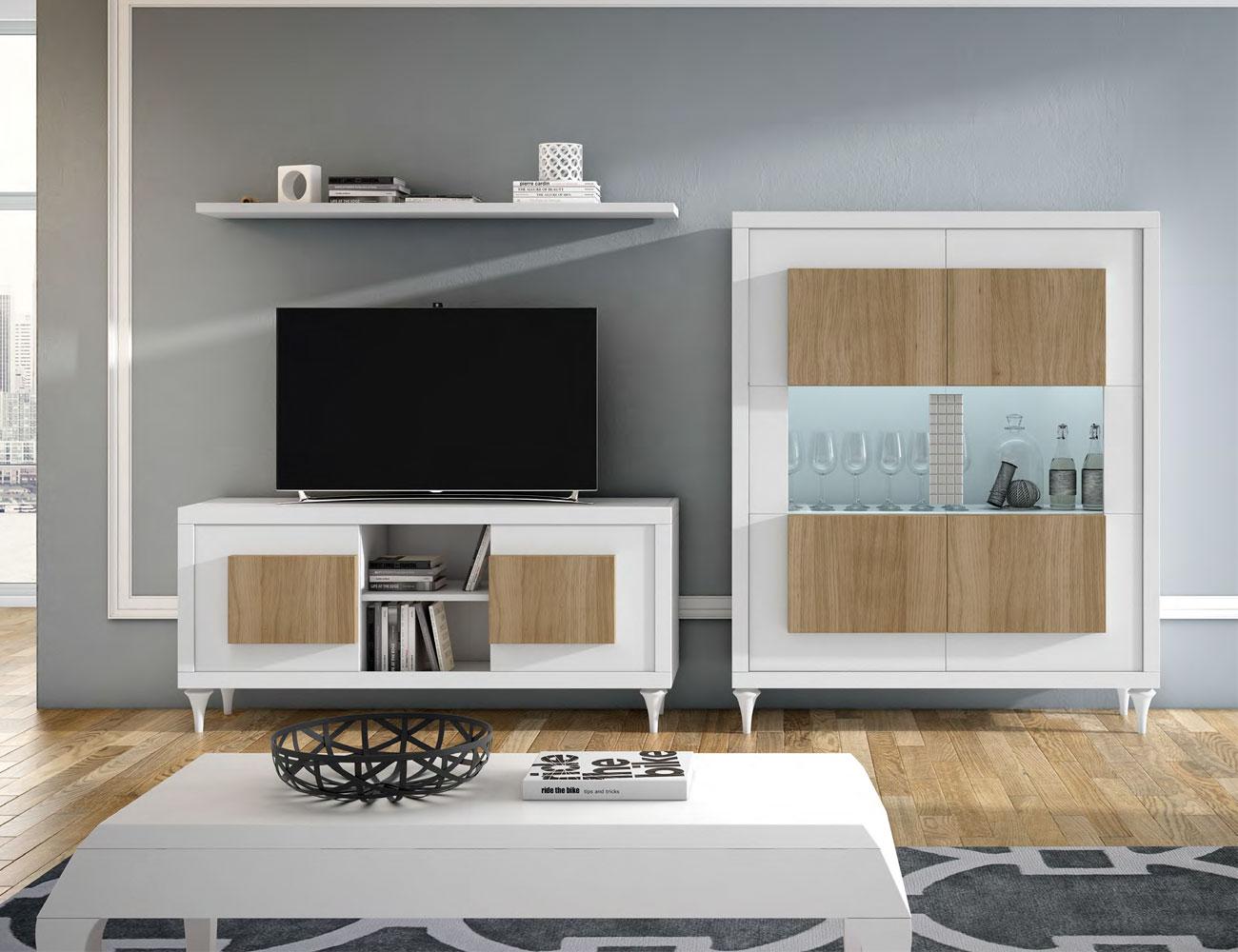 Composicion3 mueble salon comedor neoclasico blanco roble natural vitrina tv