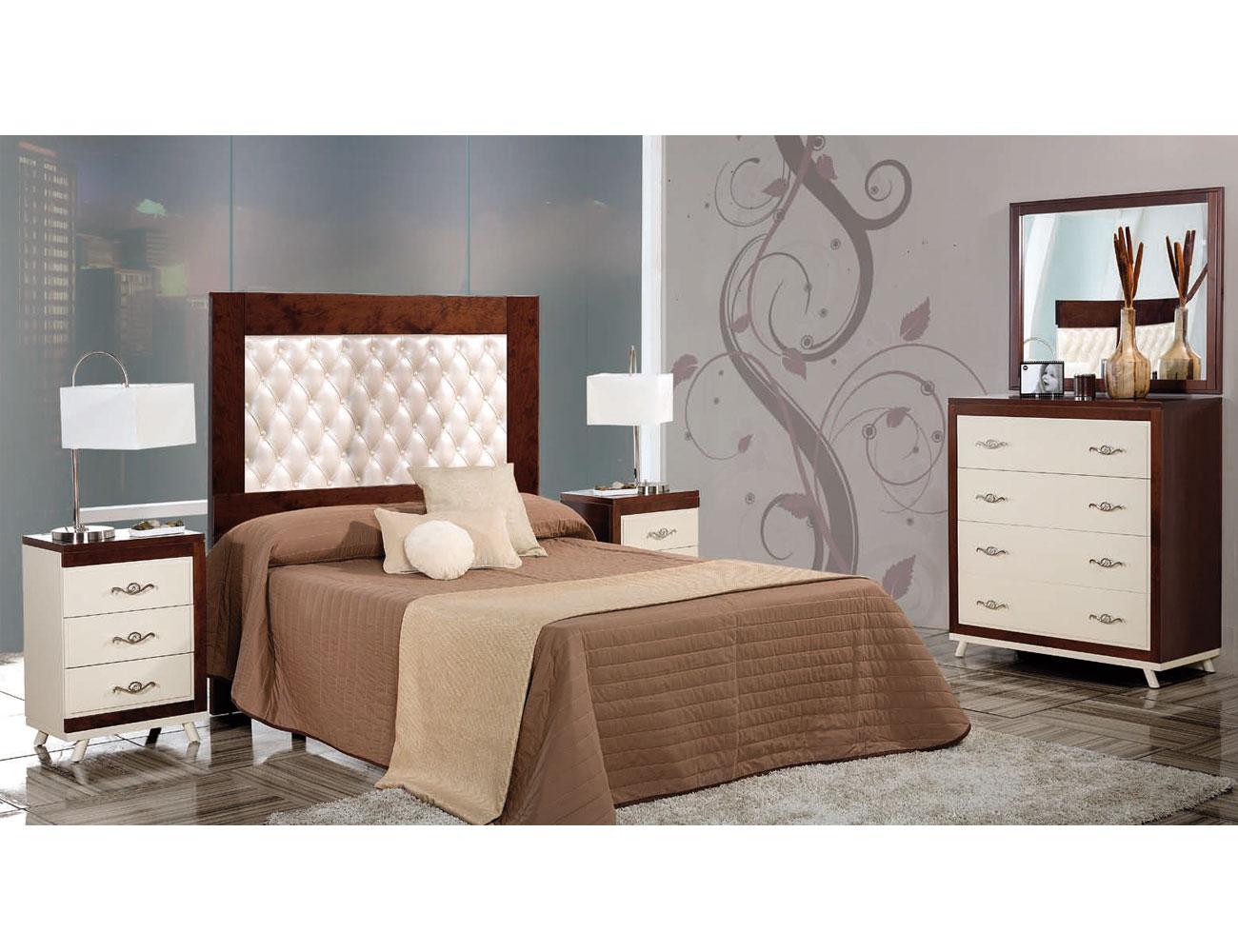 Composicion47 dormitorio matrimonio cabecero tapizado nogal beige