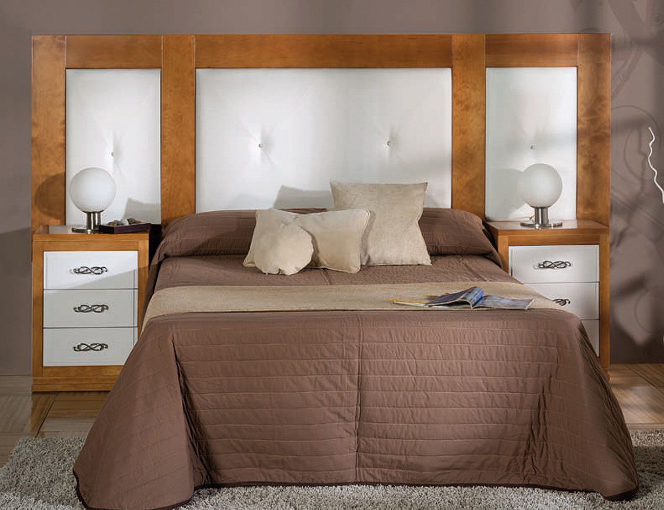 Composicion49 dormitorio matrimonio cabecero beas tapizado mesita