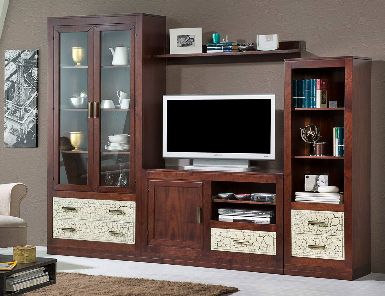 Composicion59 mueble salon comedor madera vitrina librero