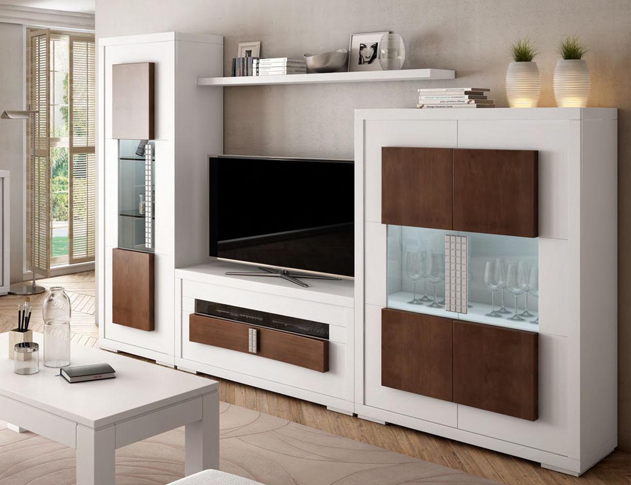 Composicion7 mueble salon comedor neoclasico blanco nogal classic vitrina bodeguero