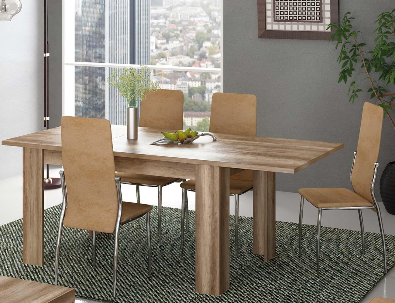 Conjunto 2 mesa comedor extensible color cañon silla tela jarama beige