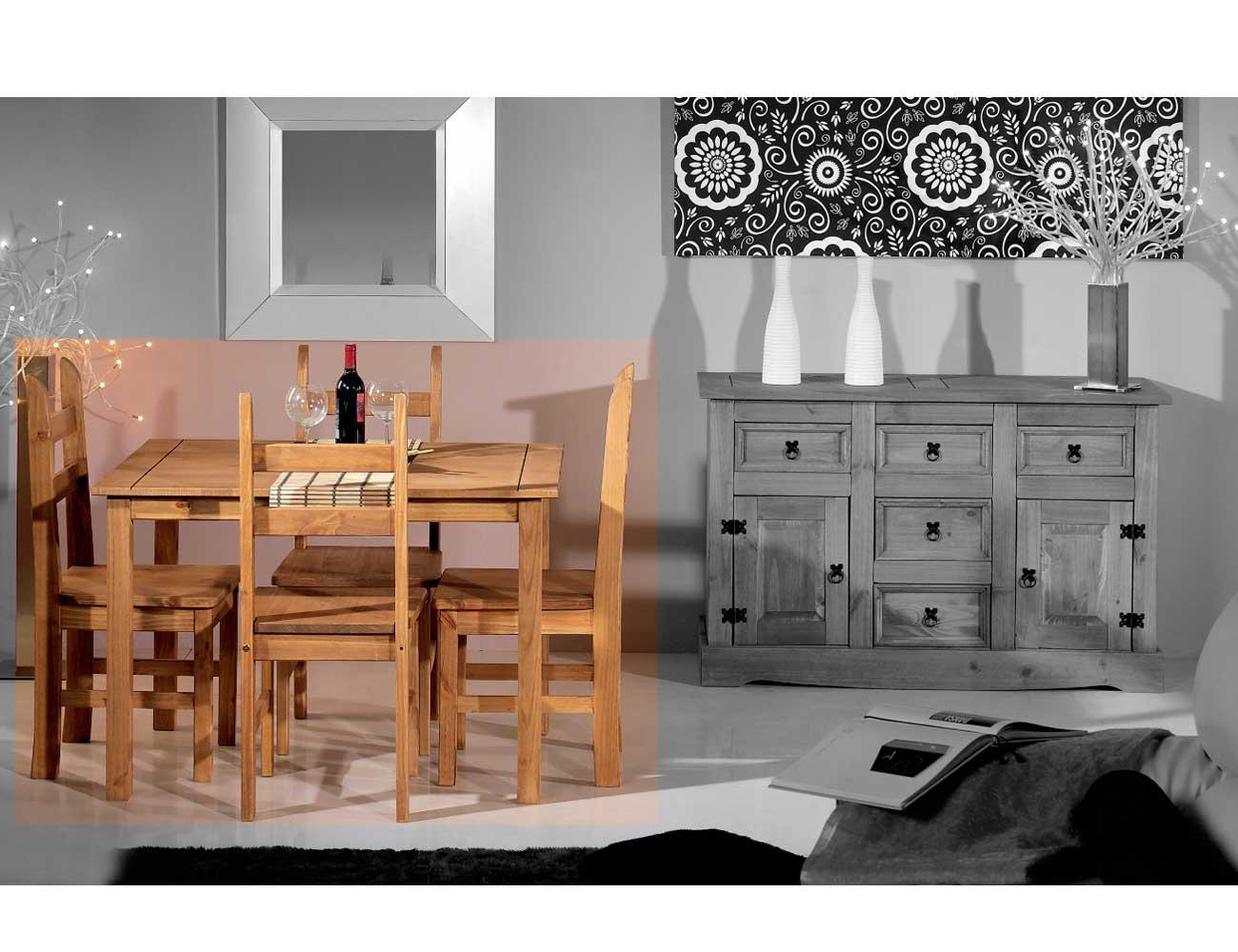 Conjunto mesa 4 sillas madera