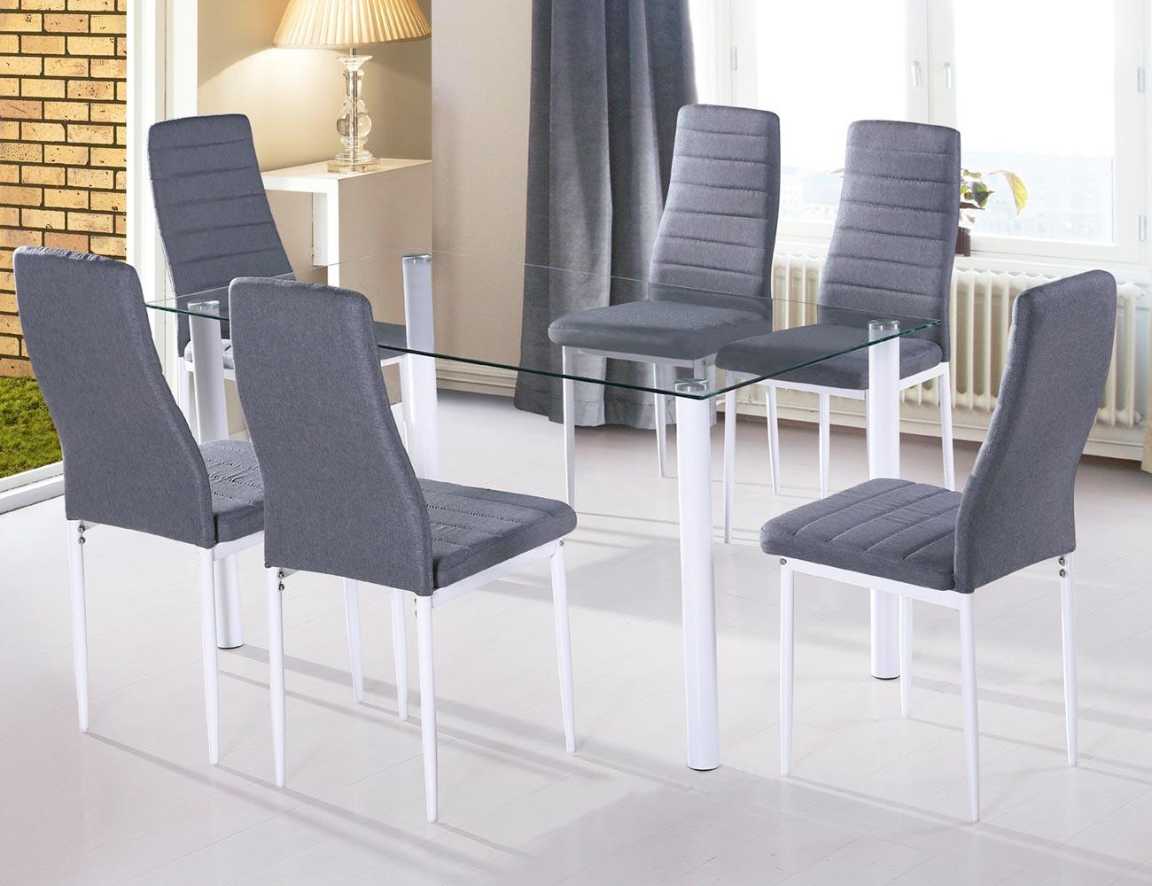 Mesa de comedor con cristal templando translucido y patas for Mesas de comedor becara