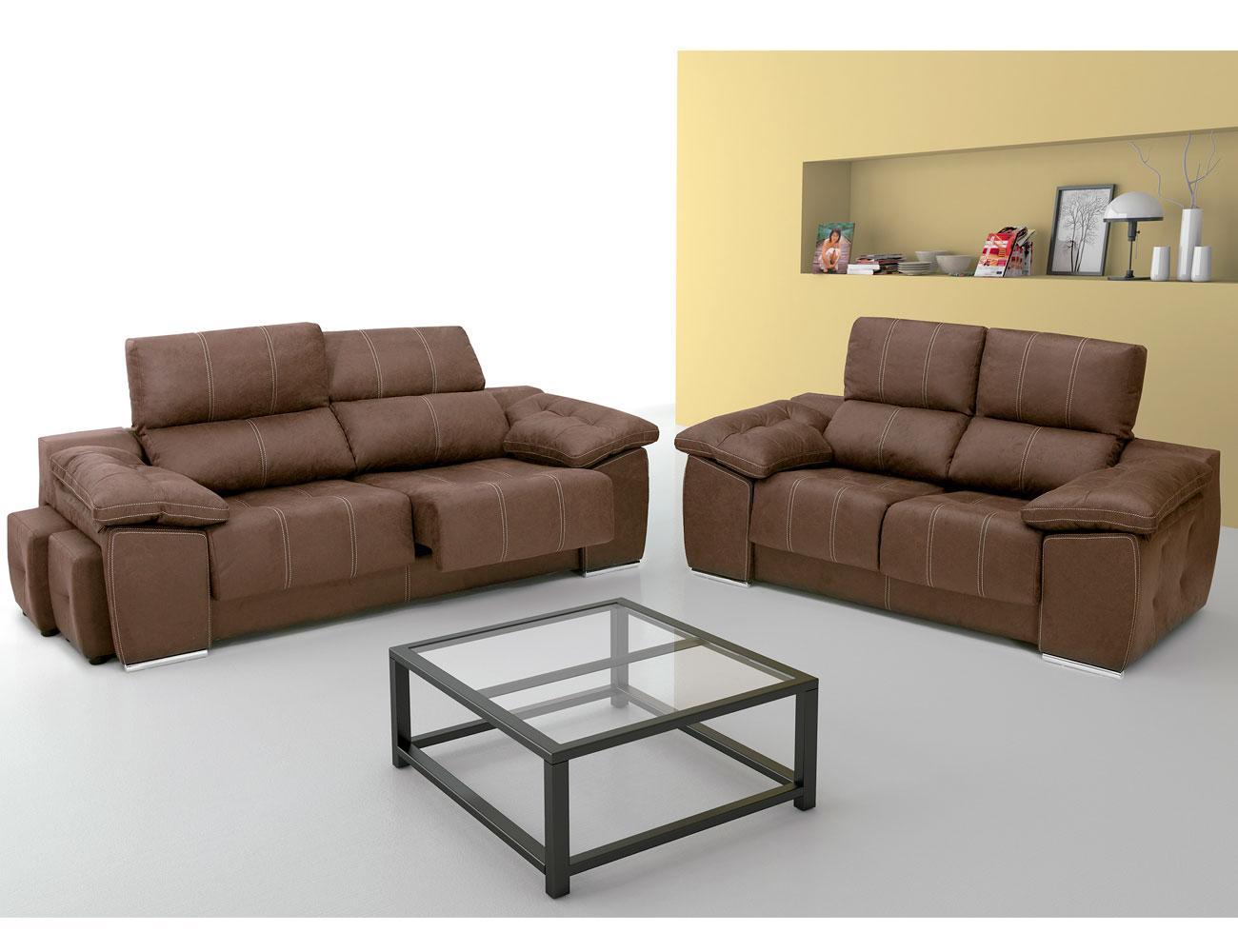 Sof chaiselongue con 5 taburetes asientos extra bles y for Sofa 4 plazas asientos deslizantes