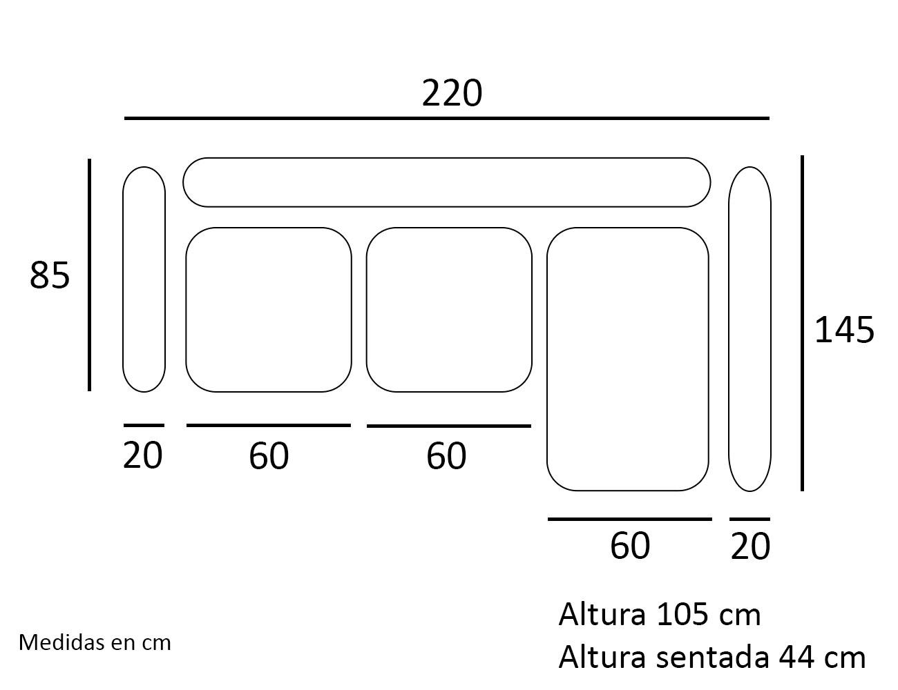 Croquis chaiselongue sofa derecho 220