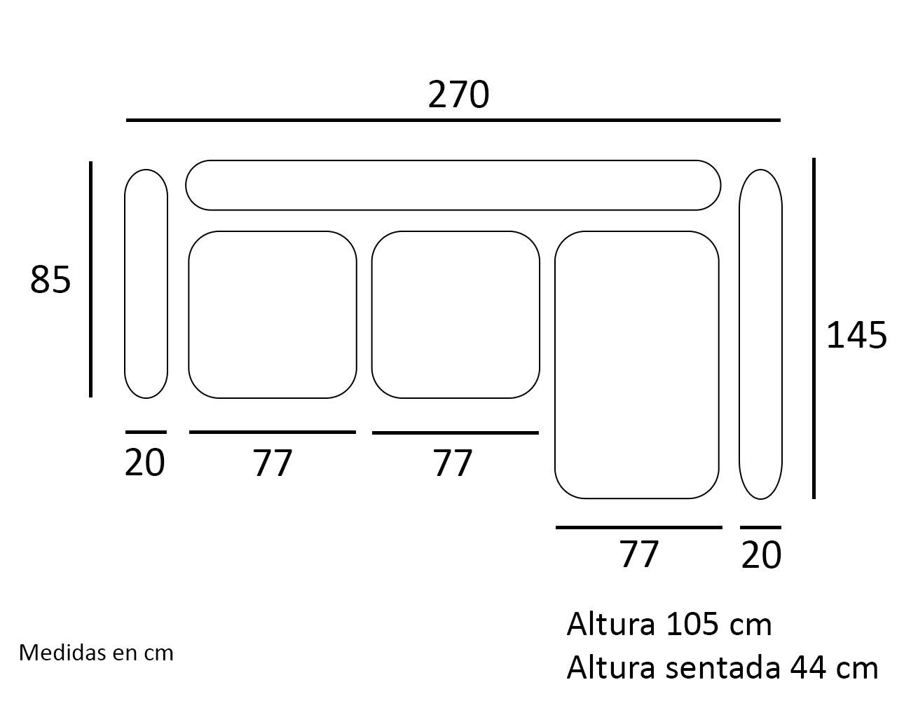 Croquis chaiselongue sofa derecho 270