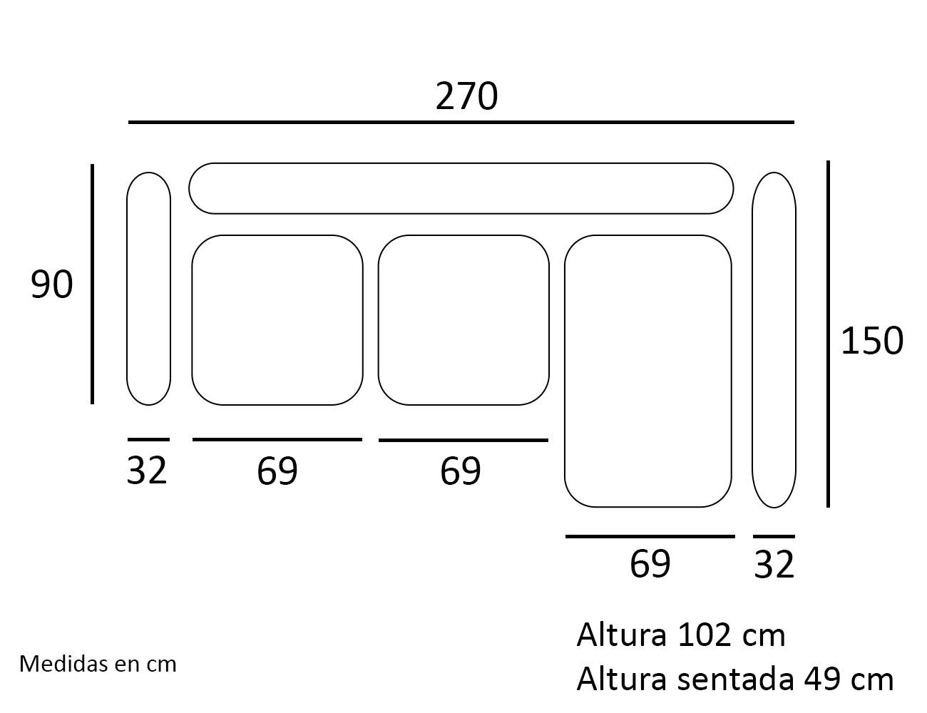 Croquis chaiselongue sofa derecho 27013