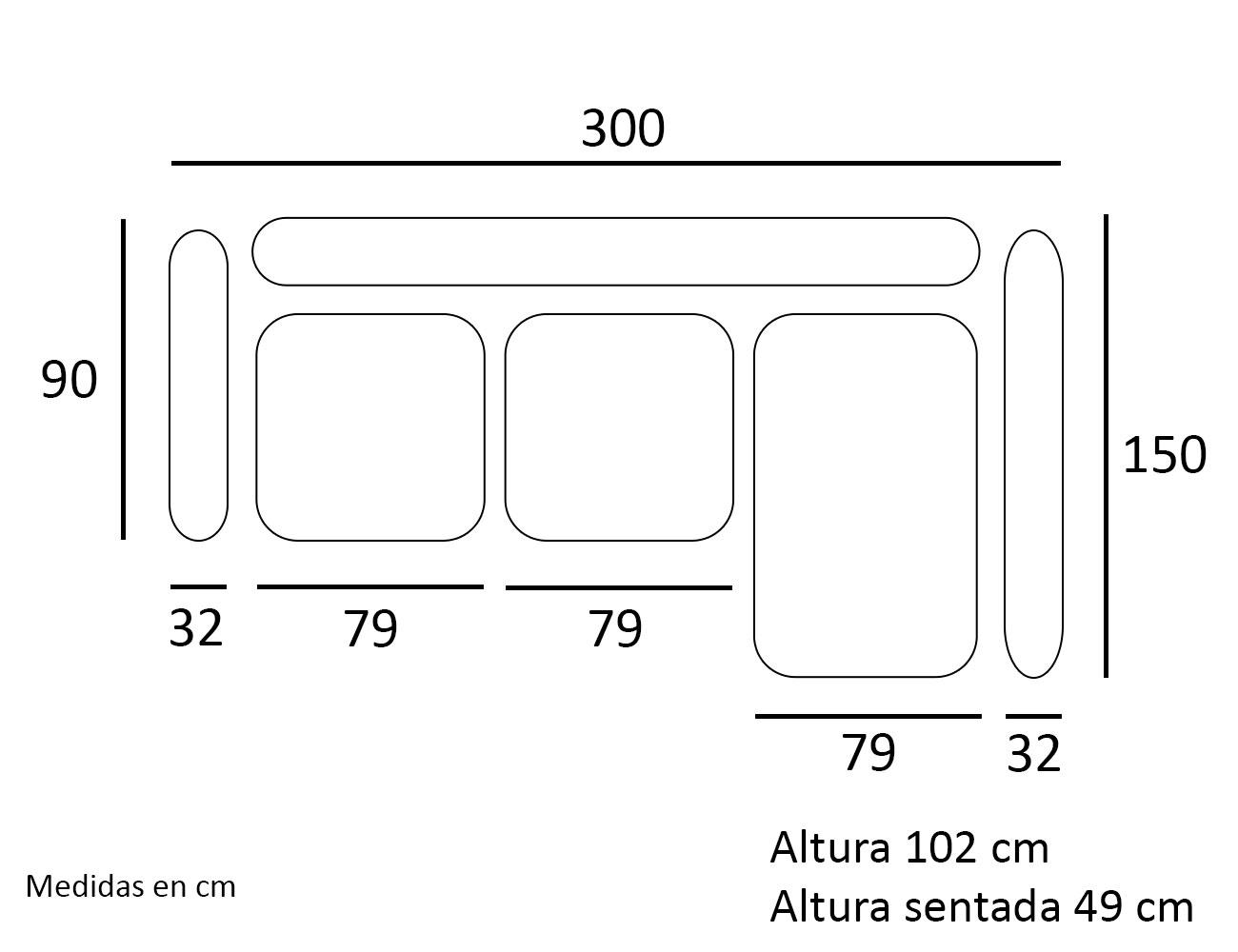 Croquis chaiselongue sofa derecho300