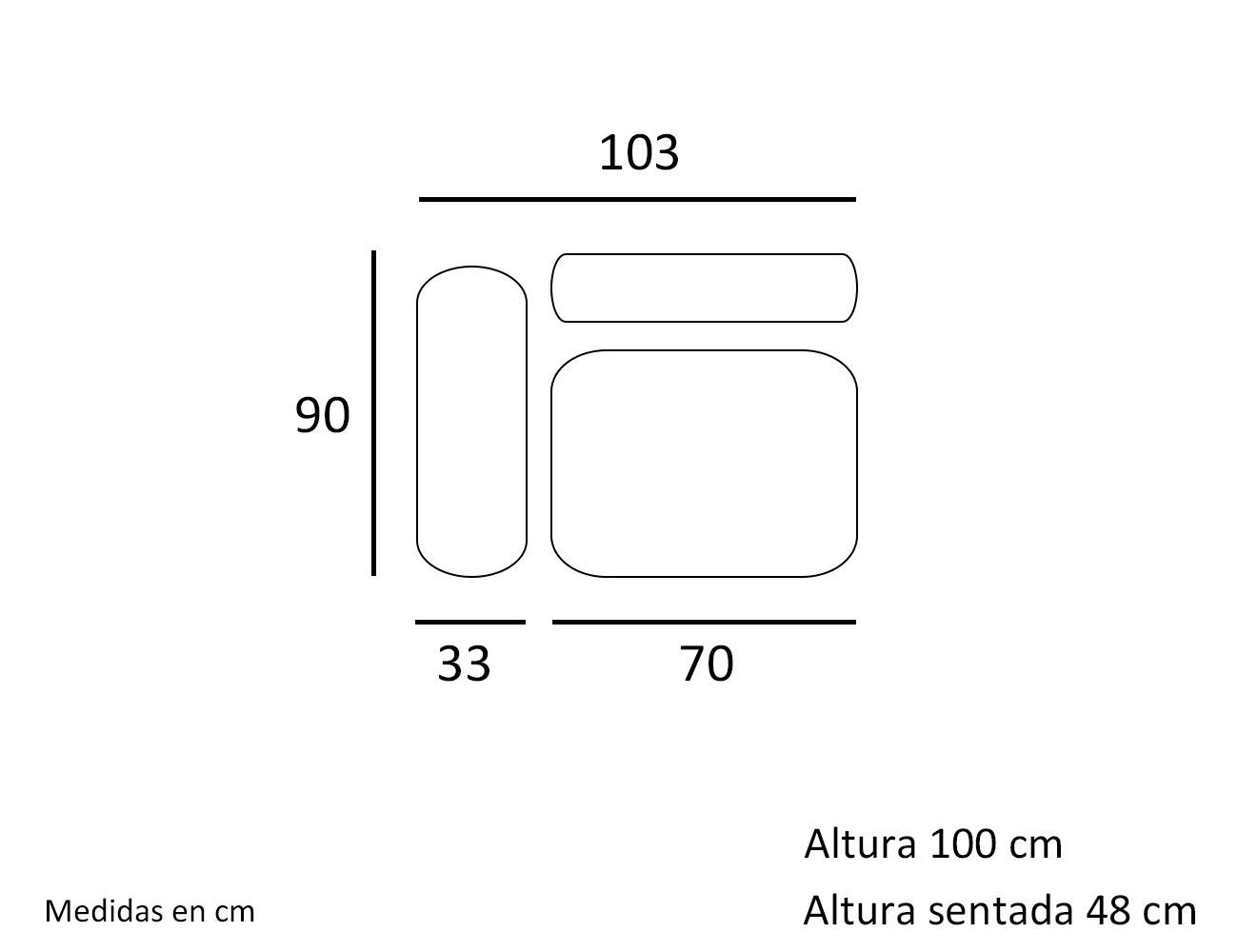 Croquis modulo 1 plaza con 1 brazo 103