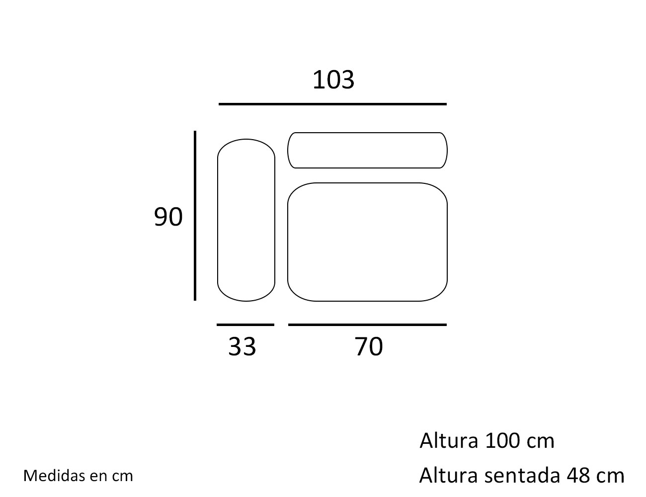 Croquis modulo 1 plaza con 1 brazo 1032