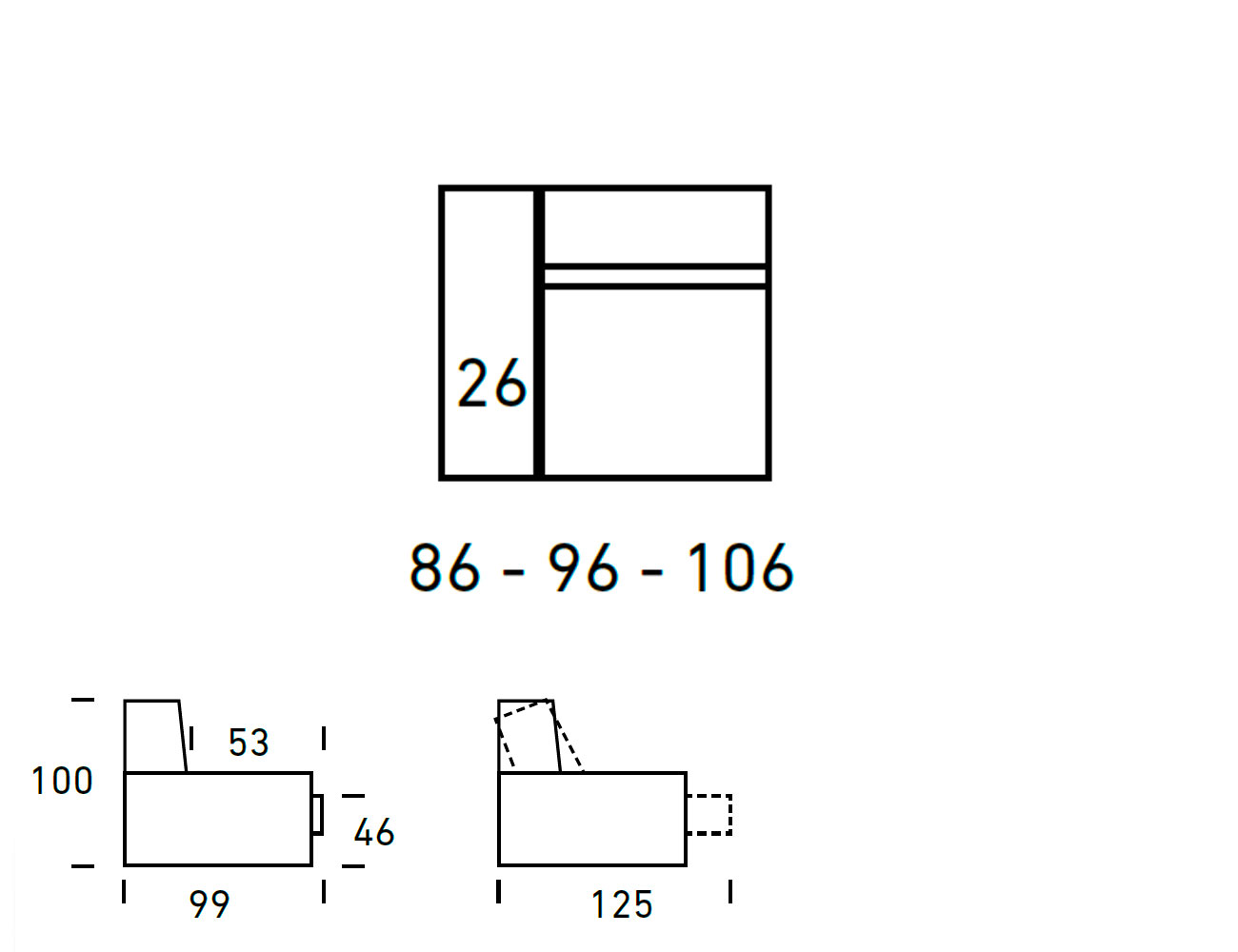 Croquis modulo 1 plaza con 1 brazo 86 96 1062