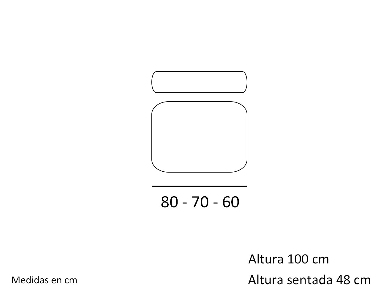 Croquis modulo 1 plaza sin brazo 60 70 80