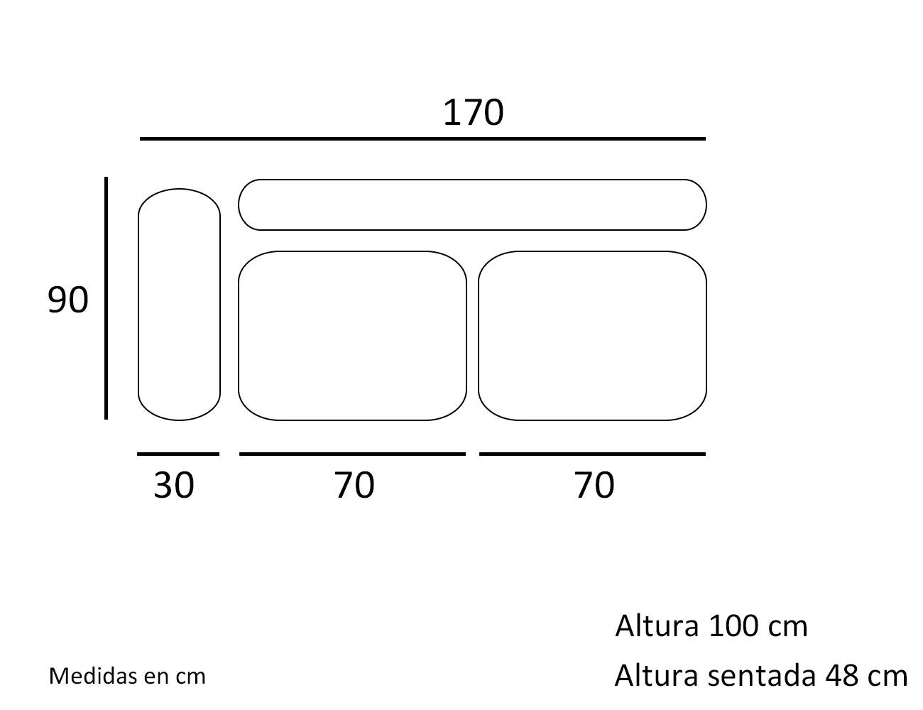 Croquis modulo 2 plazas con 1 brazo 170