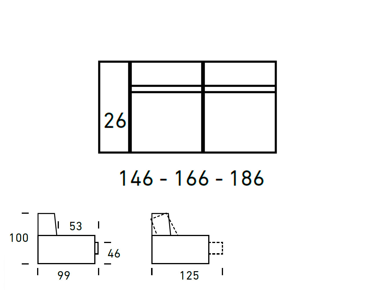 Croquis modulo 3 plazas 2 asientos 1 brazo 146 166 1864