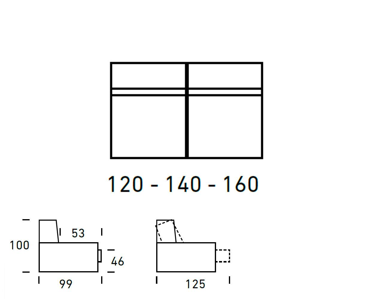 Croquis modulo 3 plazas sin brazos 120 140 160