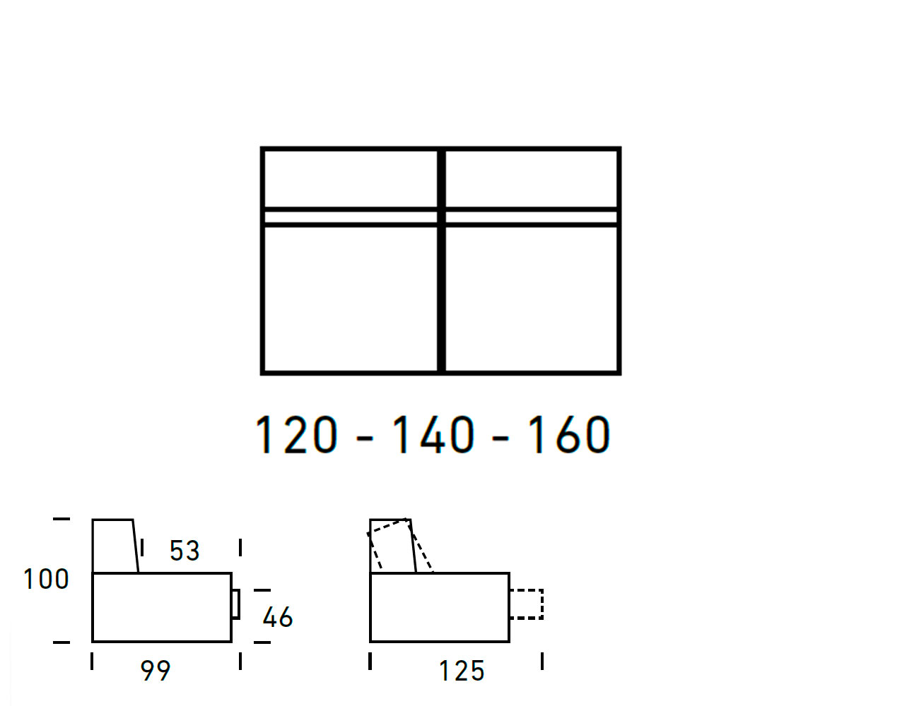 Croquis modulo 3 plazas sin brazos 120 140 1605