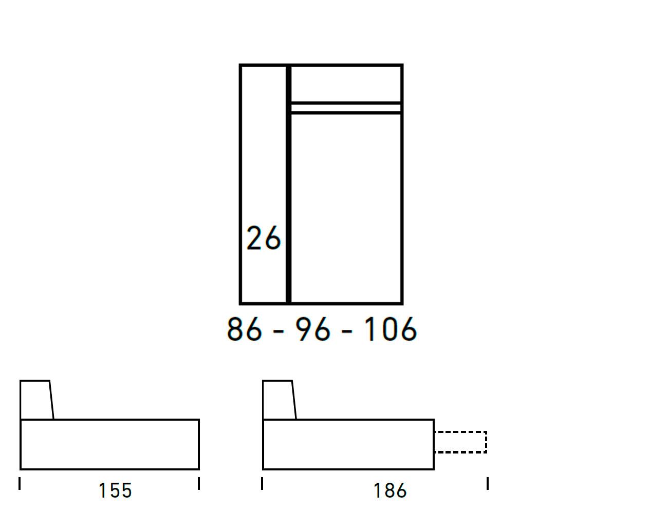 Croquis modulos chaiselongue 86 96 10625
