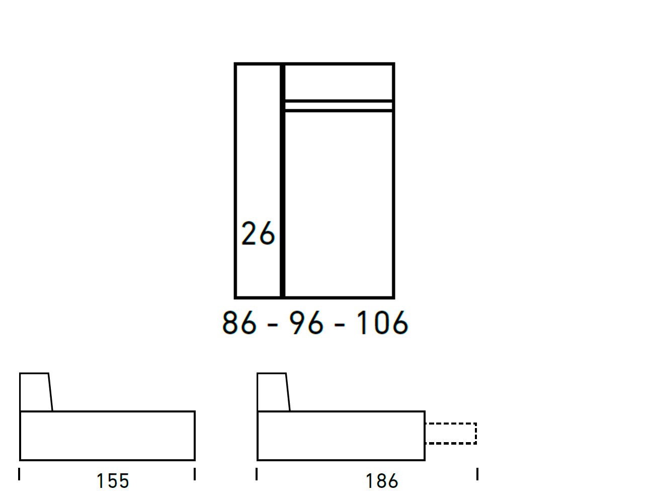 Croquis modulos chaiselongue 86 96 1066