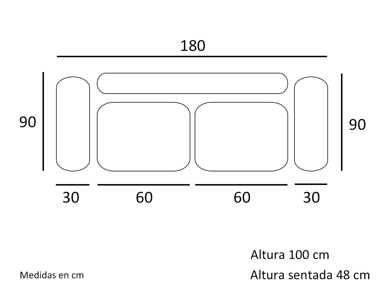 Croquis sofa 3 plazas 180