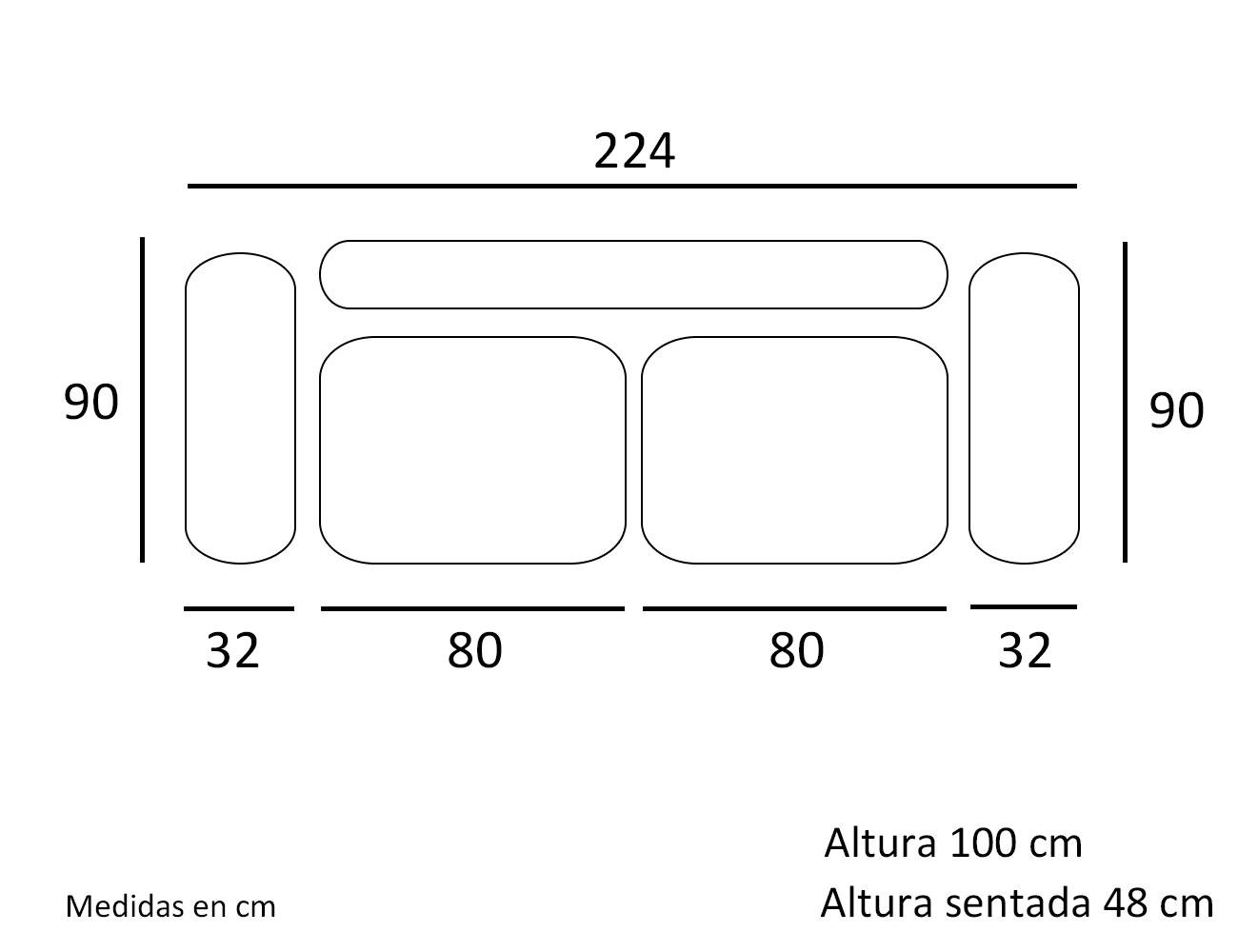 Croquis sofa 3 plazas 2242