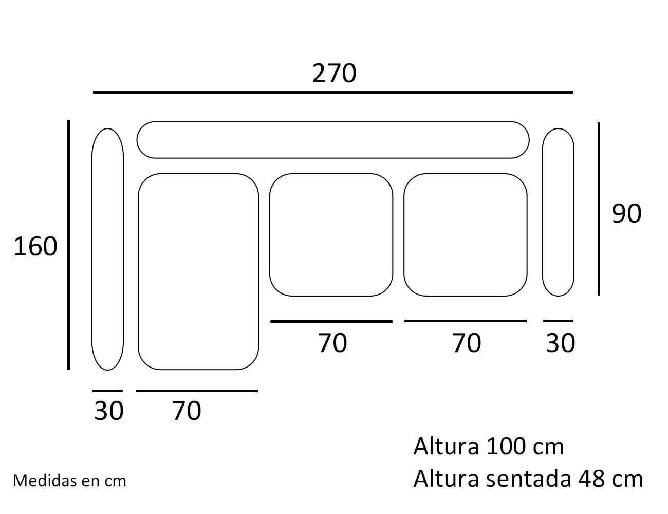 Croquis sofa chaiselongue zafiro 270