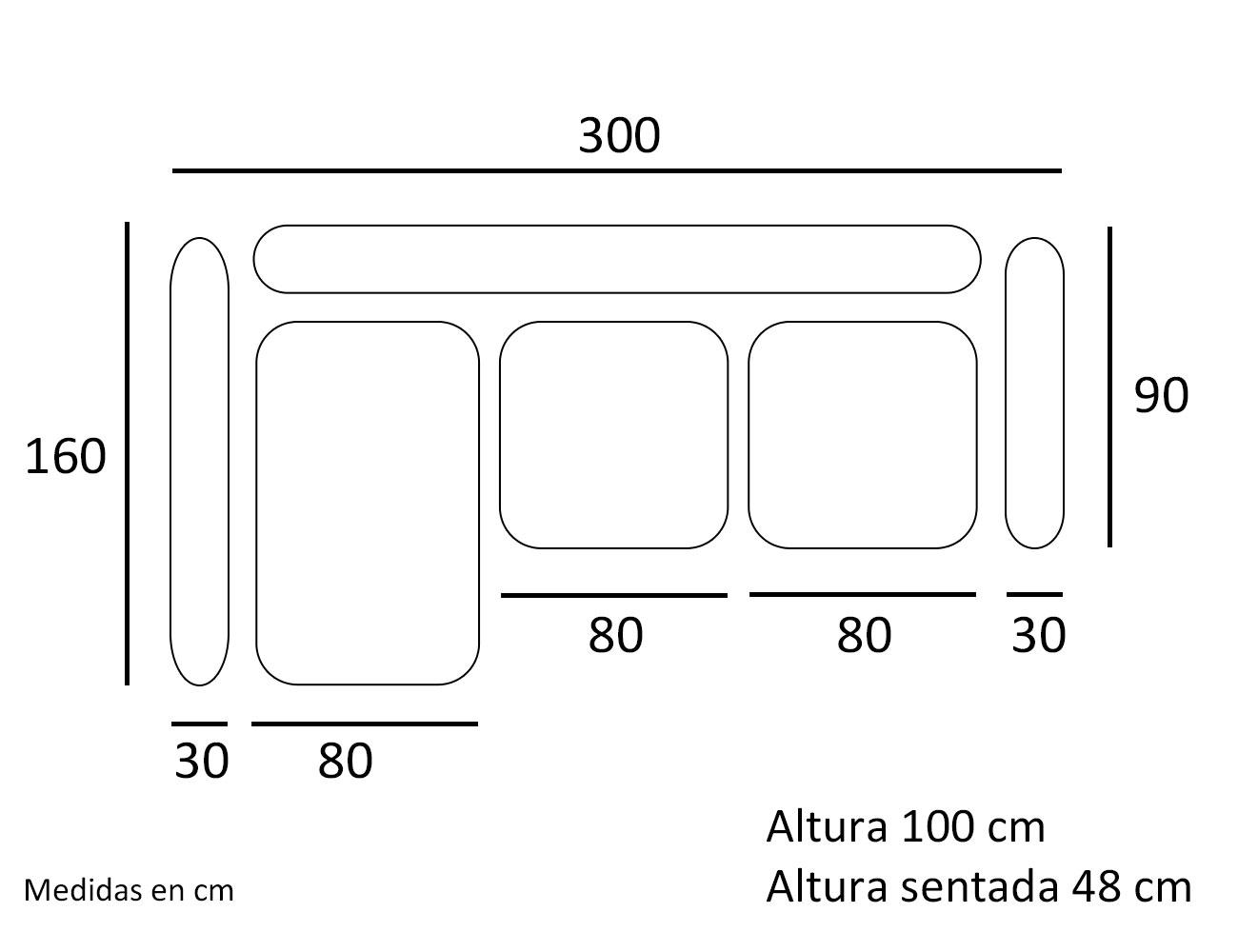 Croquis sofa chaiselongue zafiro 300