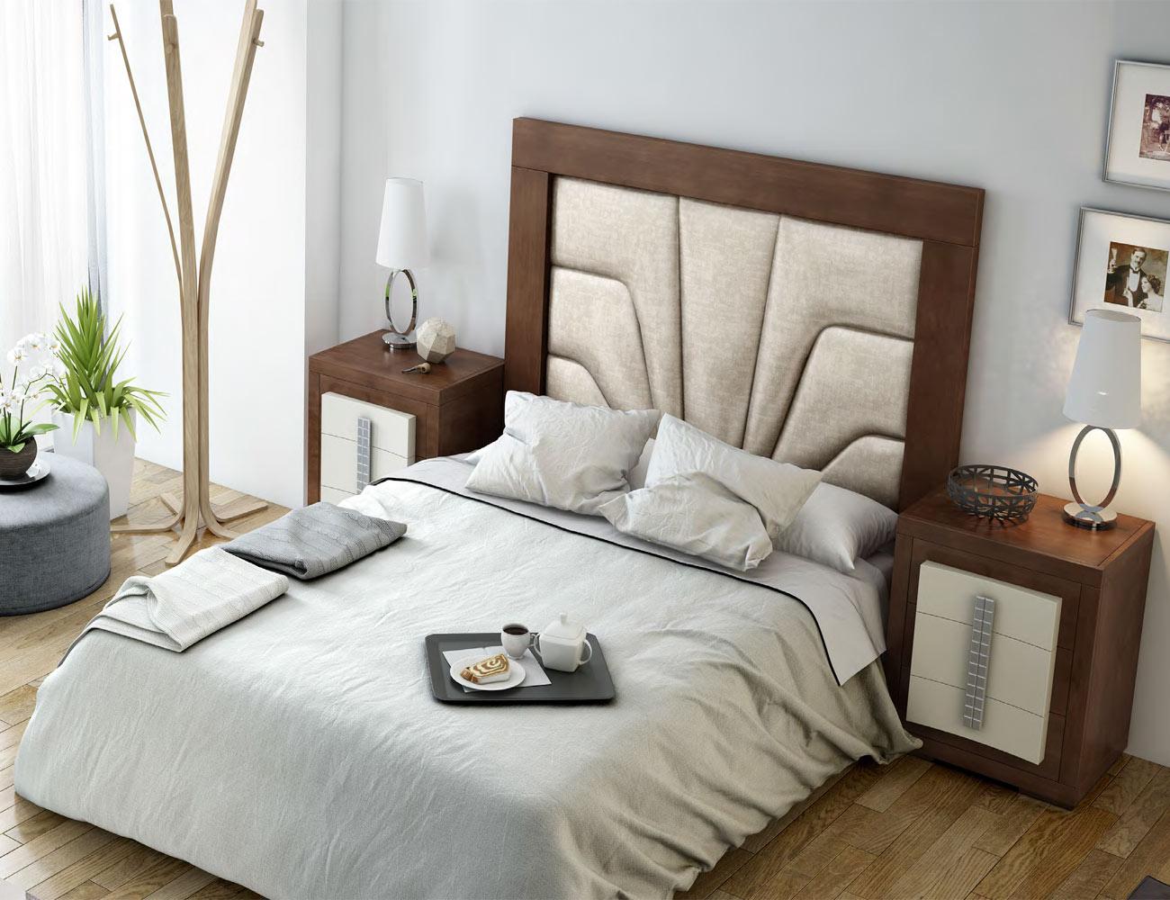 Dorm01 dormitorio matrimonio neoclasico nogal classic cubos caramelo cabecero tapizado1