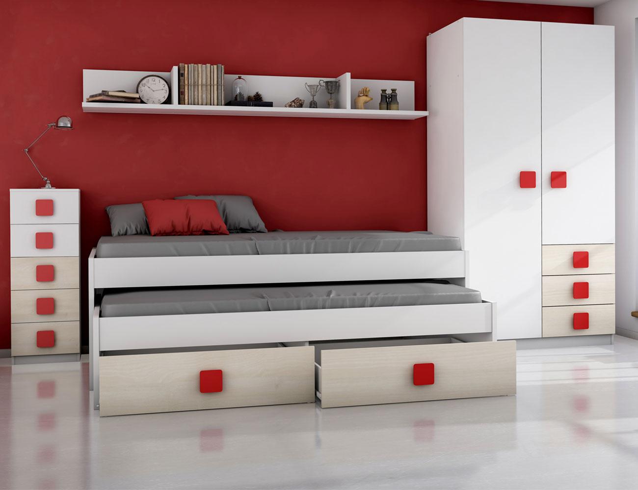 Dormitorio juvenil akazie rojo
