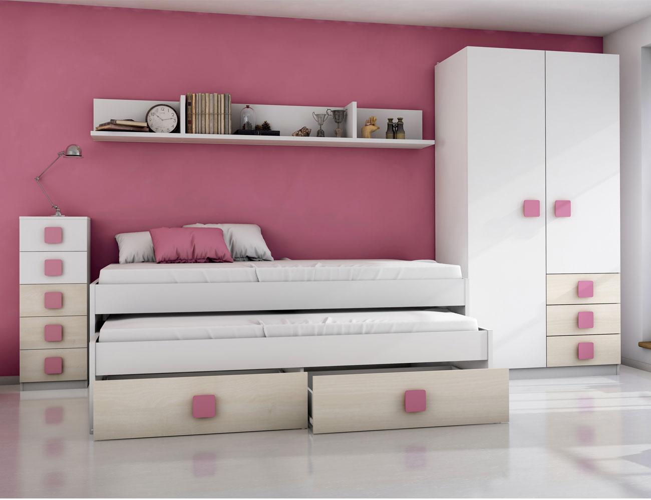Dormitorio juvenil akazie rosa