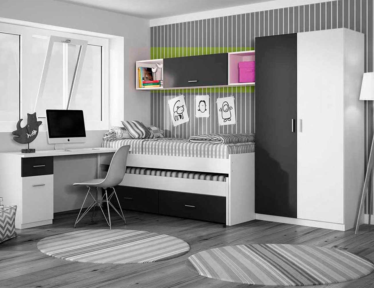 Dormitorio juvenil alto 100 cm