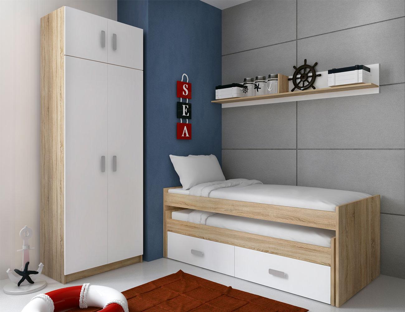 Dormitorio juvenil con cama compacto y armario con altillo for Armario juvenil blanco