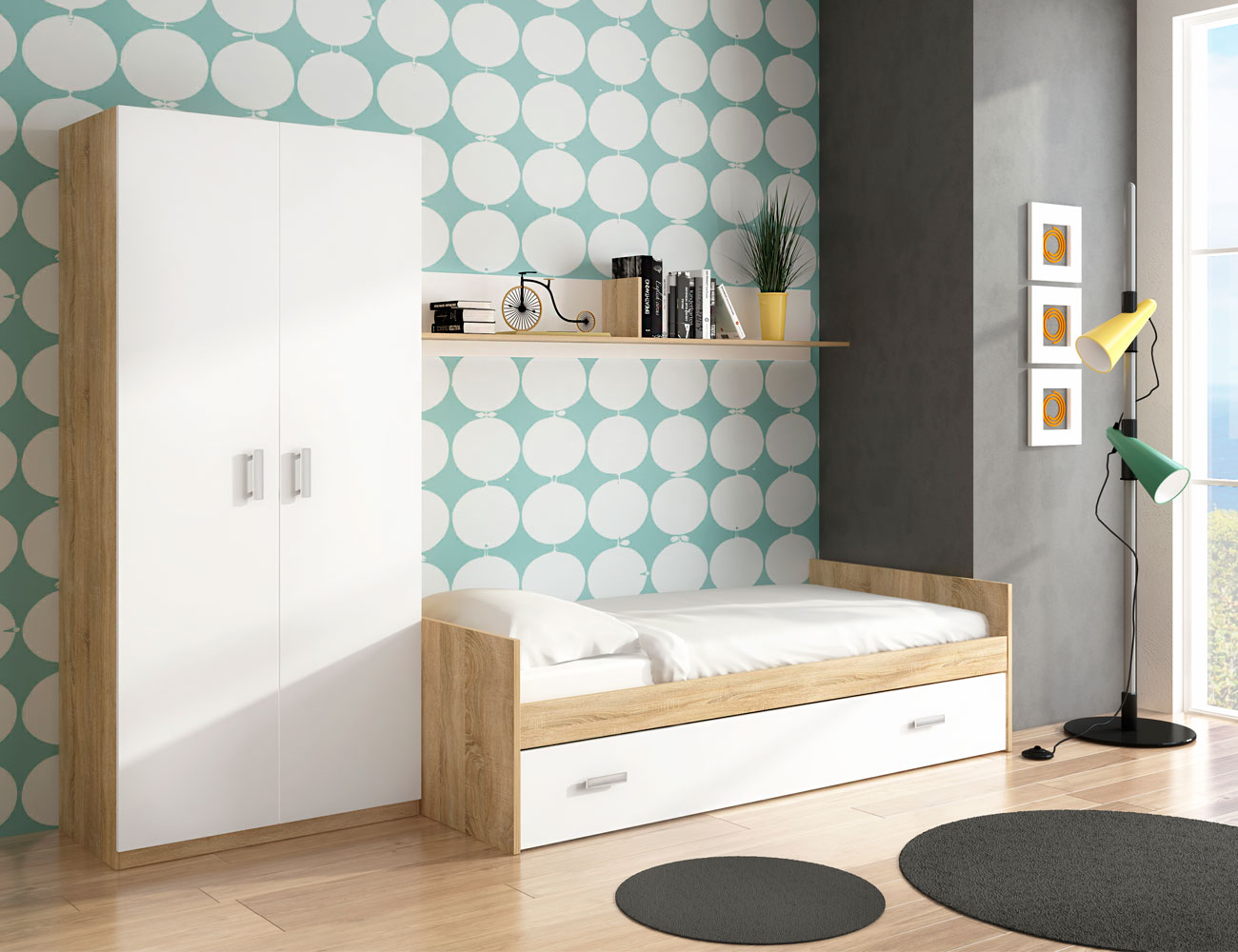 Dormitorio juvenil con cama nido y armario en cambrian con for Precios cama nido juvenil