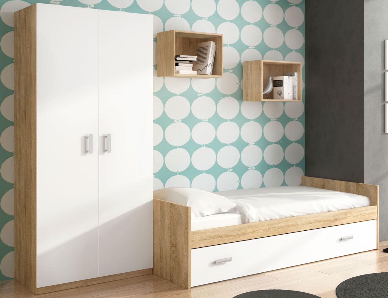 Dormitorio juvenil con cama nido y armario con 2 estantes for Cama nido dormitorio juvenil
