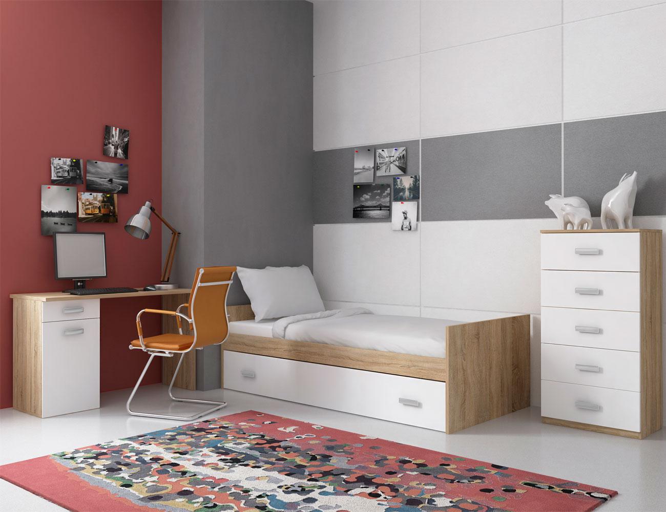 dormitorio juvenil con cama nido sinfonier y mesa estudio