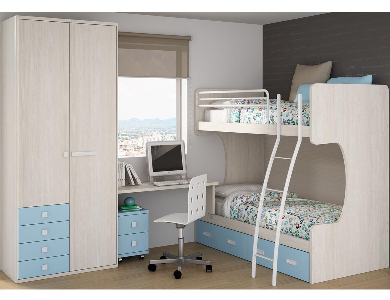 Dormitorio juvenil armario celeste