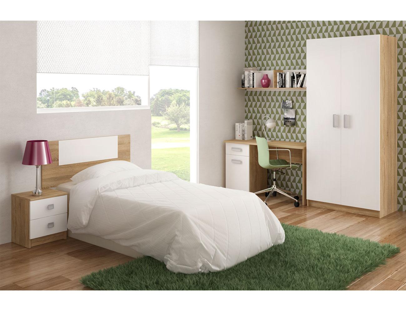 Dormitorio juvenil con mesita de noche y con mesa de - Estantes dormitorio juvenil ...