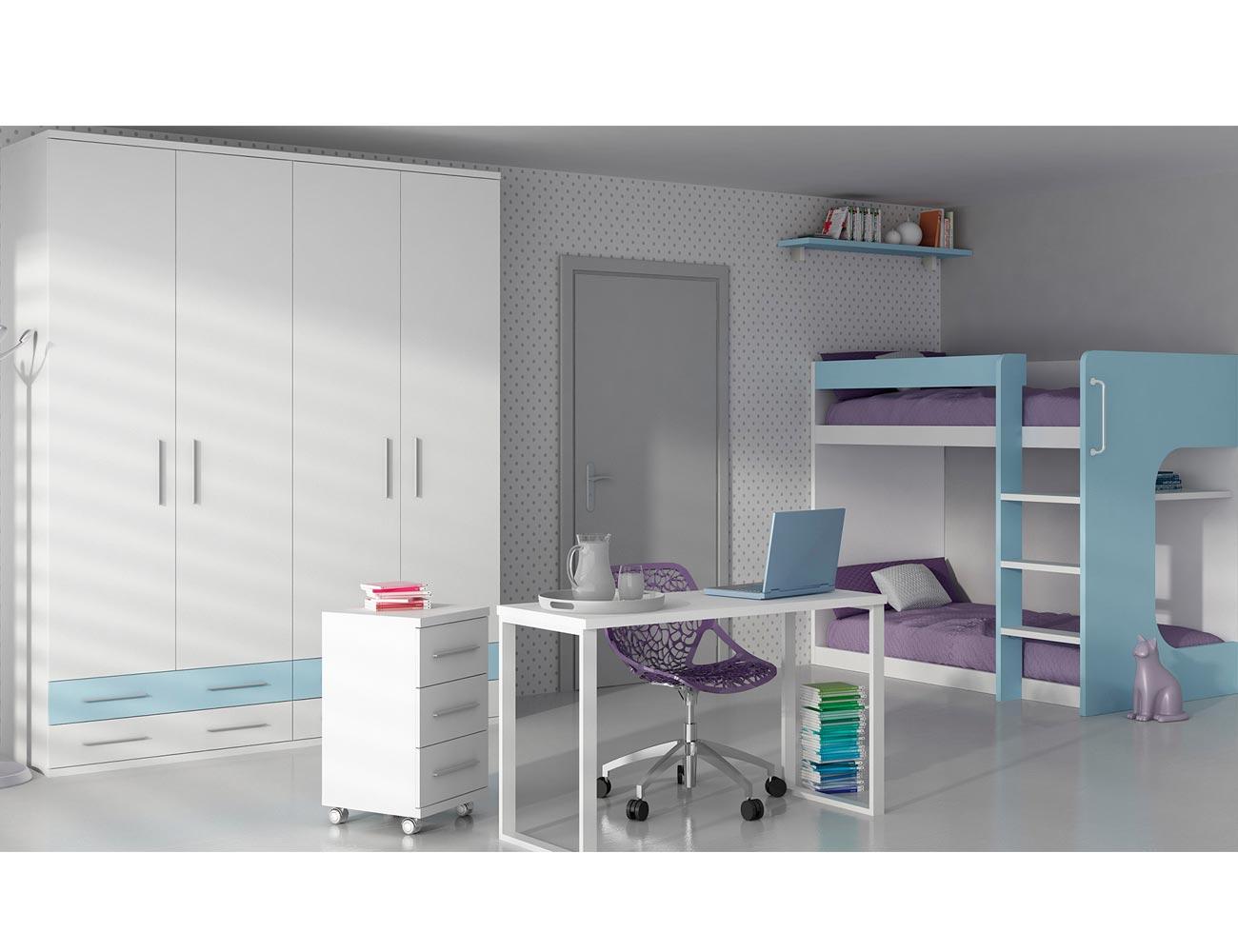 Dormitorio juvenil armario litera