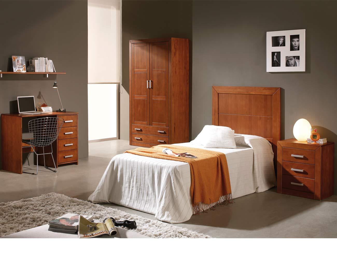 Dormitorio juvenil armario mesa escritorio cabecero madera nogal