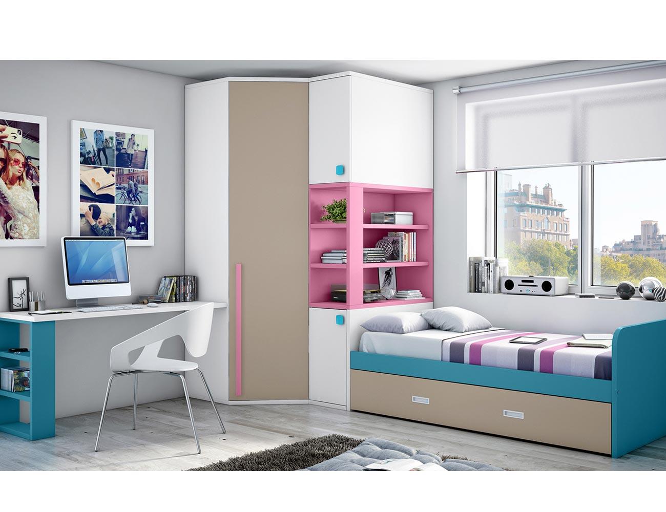 Dormitorio juvenil armario rincon cajones turquesa