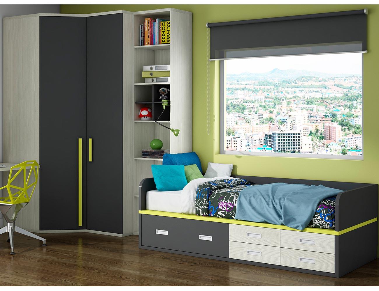Dormitorio juvenil armario rincon cajones
