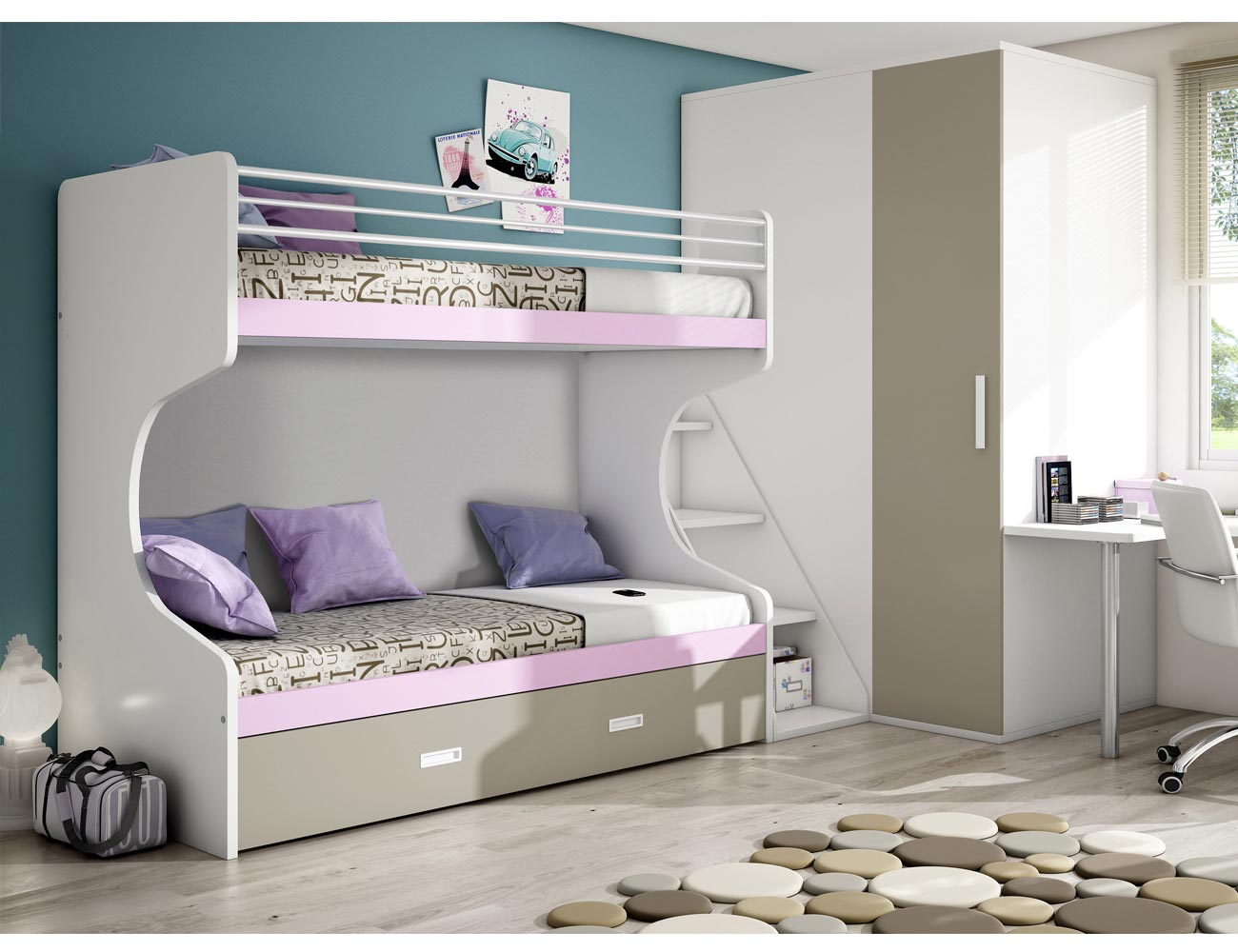 Dormitorio juvenil armario rincon litera