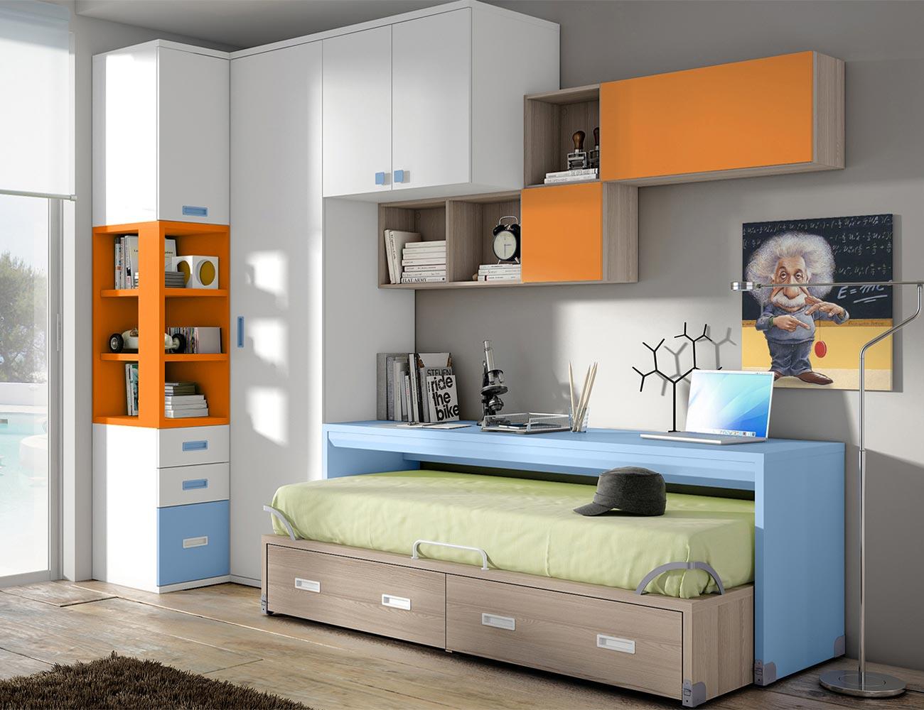 Dormitorio juvenil armario vestidor rincon cama puente base30